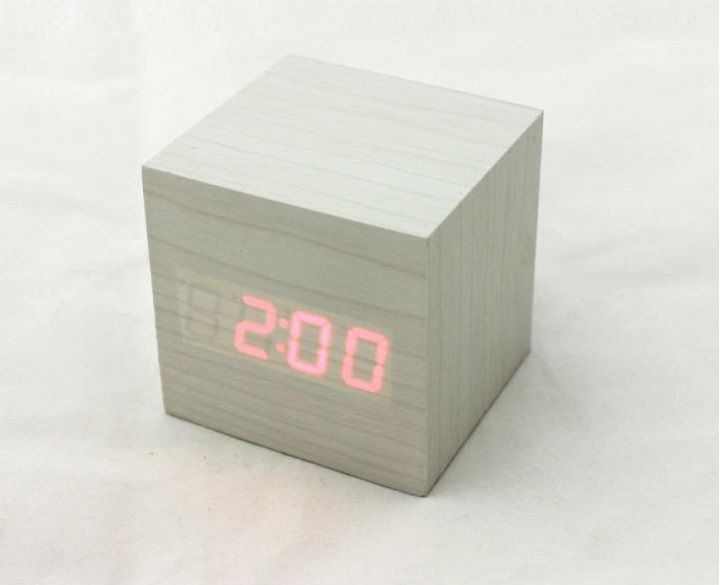 Cute Cube Clock mini White
