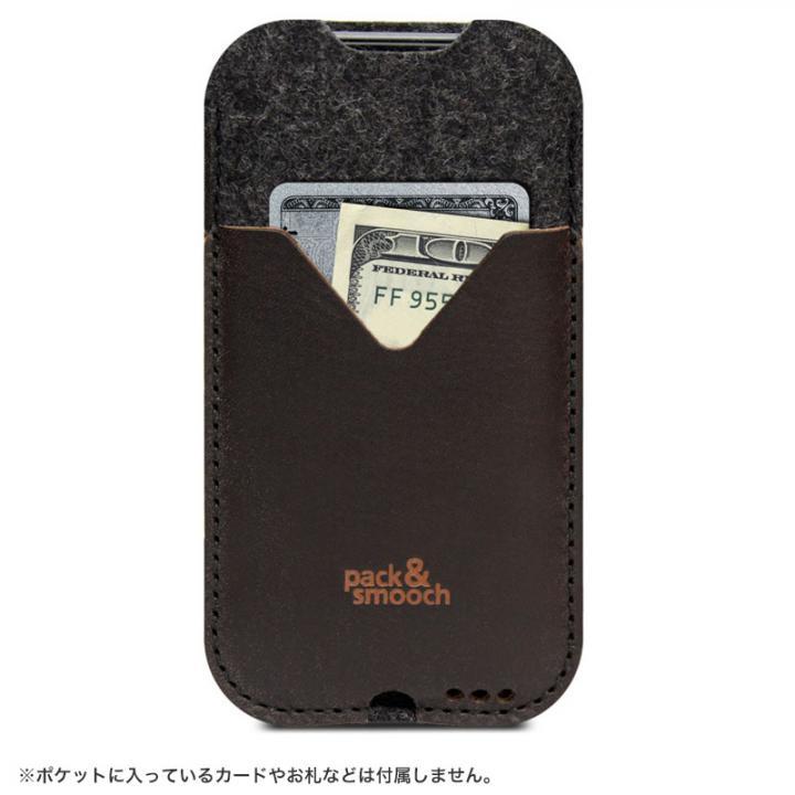ウールフェルト/牛革製スリーブポケットケース ダークブラウン iPhone 6s/6