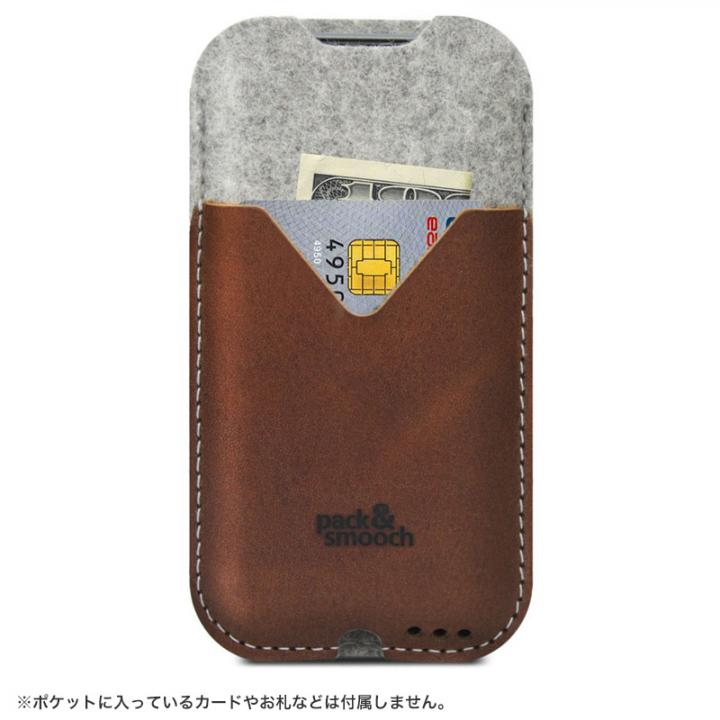 【iPhone6s/6ケース】ウールフェルト/牛革製スリーブポケットケース ライトブラウン iPhone 6s/6_0
