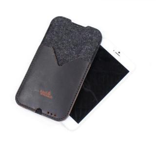 【iPhone6s Plus/6 Plusケース】ウールフェルト/牛革製スリーブポケットケース ダークブラウン iPhone 6s Plus/6 Plus_2