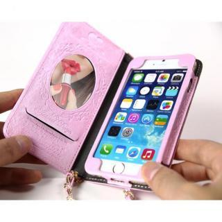 【iPhone6ケース】Heart Letter 手帳型PUレザーケース パステルピンク/ホワイト iPhone 6_2