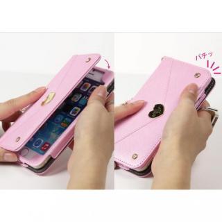 【iPhone6ケース】Heart Letter 手帳型PUレザーケース パステルピンク/ホワイト iPhone 6_4