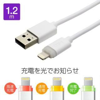 [百花繚乱セール][1.2m]LEDパワーシグナル Lightningケーブル ホワイト