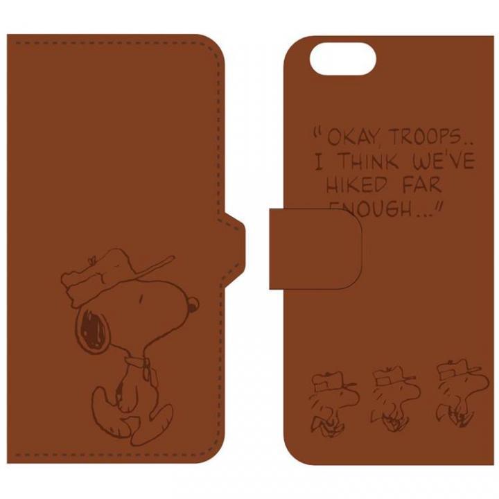 【iPhone6ケース】ピーナッツ 手帳型PUレザーケース ブラウン iPhone 6 スヌーピー&ウッドストック_0