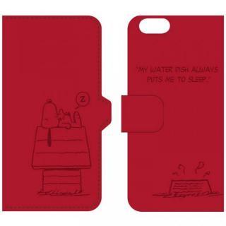 ピーナッツ 手帳型PUレザーケース レッド iPhone 6 スヌーピー