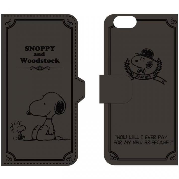 【iPhone6ケース】ピーナッツ 手帳型PUレザーケース ブラック iPhone 6 スヌーピー&ウッドストック_0
