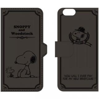 ピーナッツ 手帳型PUレザーケース ブラック iPhone 6 スヌーピー&ウッドストック