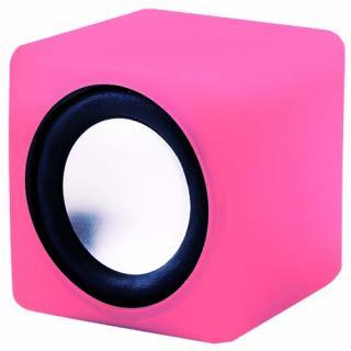 音にシンクロして光る コンパクトスピーカー キュービックサウンド(ピンク)