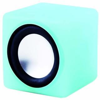 音にシンクロして光る コンパクトスピーカー キュービックサウンド(ブルー)