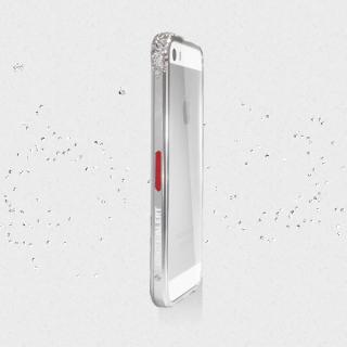 レッドアラートウィズスワロフスキー iPhone5s/5 シルバー 送料無料