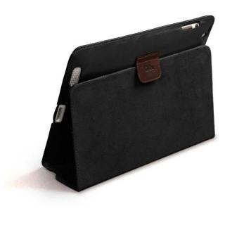 iPad (第2-4世代) /スタンド機能つき ブックタイプ 本革レザー ケース Black / Brown_3