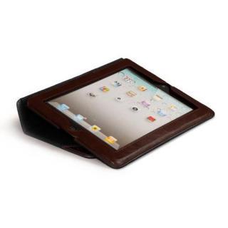 iPad (第2-4世代) /スタンド機能つき ブックタイプ 本革レザー ケース Black / Brown_4