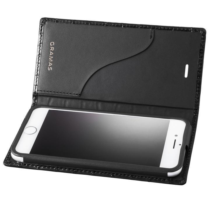 【iPhone8/7ケース】GRAMAS クロコ型押し フルレザー手帳型ケース ブラック iPhone 8/7_0