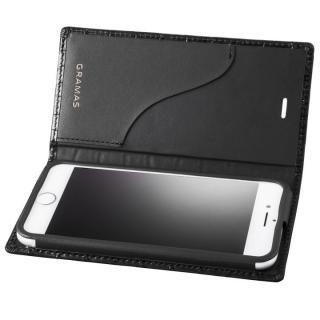 GRAMAS クロコ型押し フルレザー手帳型ケース ブラック iPhone 8/7