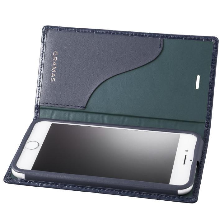 GRAMAS クロコ型押し フルレザー手帳型ケース ネイビー iPhone 8/7