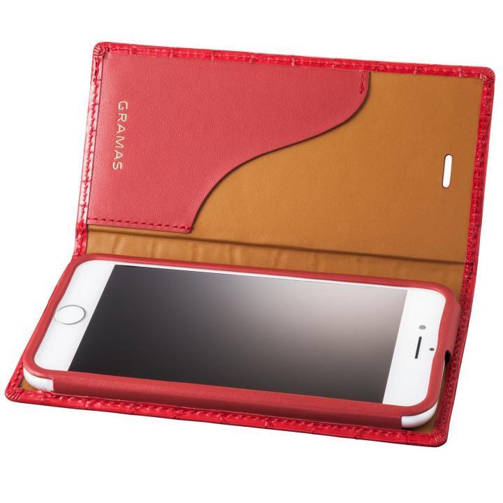 iPhone8/7 ケース GRAMAS クロコ型押し フルレザー手帳型ケース レッド iPhone 8/7_0