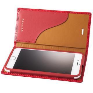 iPhone8/7 ケース GRAMAS クロコ型押し フルレザー手帳型ケース レッド iPhone 8/7