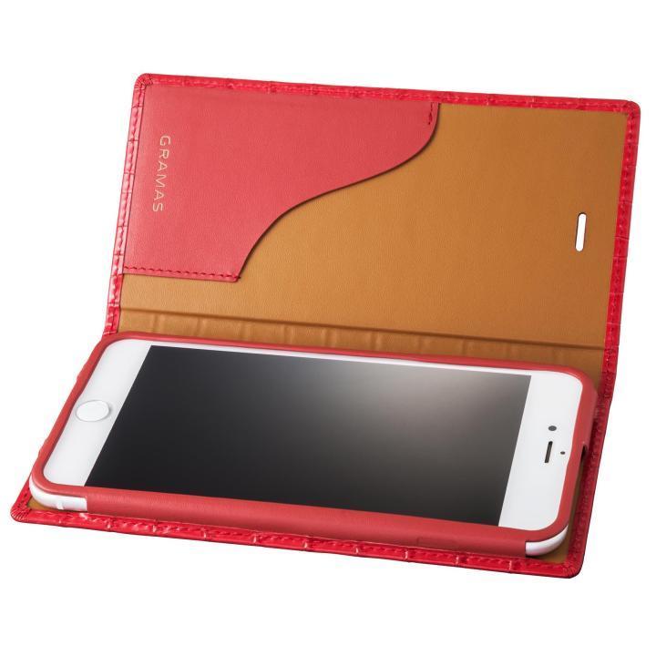 GRAMAS クロコ型押し フルレザー手帳型ケース レッド iPhone 7 Plus