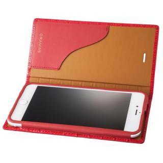 GRAMAS クロコ型押し フルレザー手帳型ケース レッド iPhone 8 Plus/7 Plus