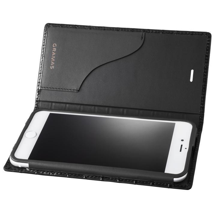 GRAMAS クロコ型押し フルレザー手帳型ケース ブラック iPhone 8 Plus/7 Plus