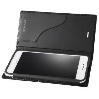 iPhone8 Plus/7 Plus ケース GRAMAS クロコ型押し フルレザー手帳型ケース ブラック iPhone 8 Plus/7 Plus