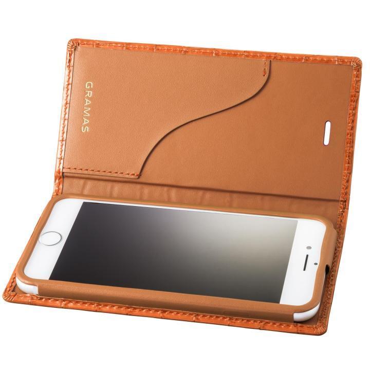 GRAMAS クロコ型押し フルレザー手帳型ケース タン iPhone 8/7