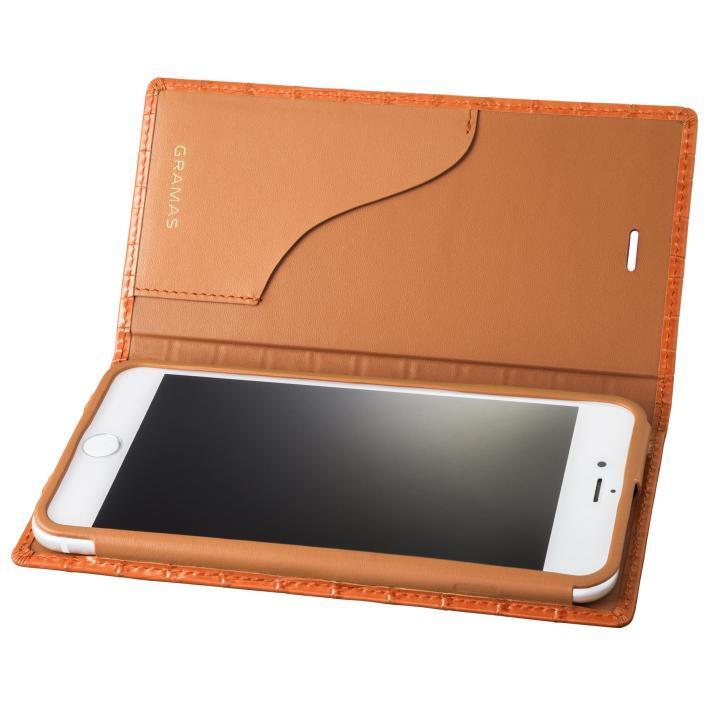 GRAMAS クロコ型押し フルレザー手帳型ケース タン iPhone 8 Plus/7 Plus
