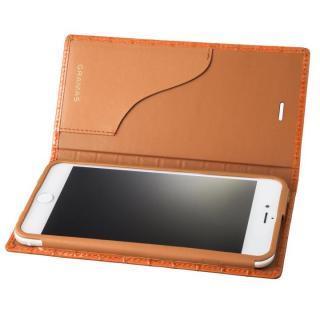 GRAMAS クロコ型押し フルレザー手帳型ケース タン iPhone 7 Plus