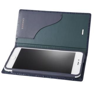 iPhone8 Plus/7 Plus ケース GRAMAS クロコ型押し フルレザー手帳型ケース ネイビー iPhone 8 Plus/7 Plus