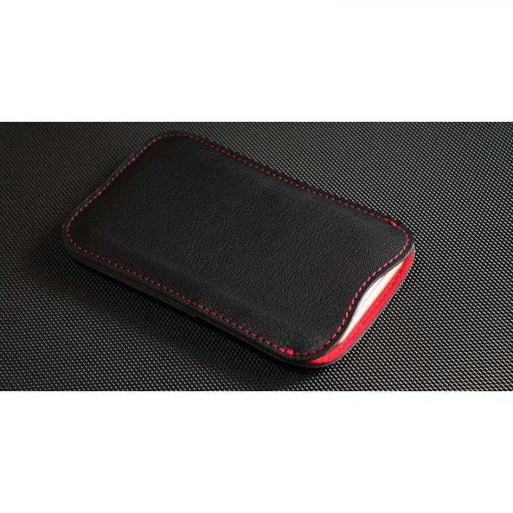 職人が作るレザースリーブ ブラック+赤ステッチ ルーズフィット iPhone 7【2月上旬】