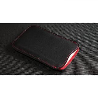 職人が作るレザースリーブ ブラック+赤ステッチ iPhone 7 Plus