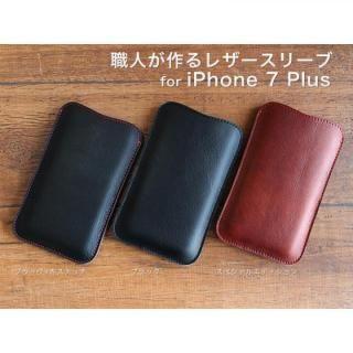 【iPhone7 Plusケース】職人が作るレザースリーブ ブラック iPhone 7 Plus_1