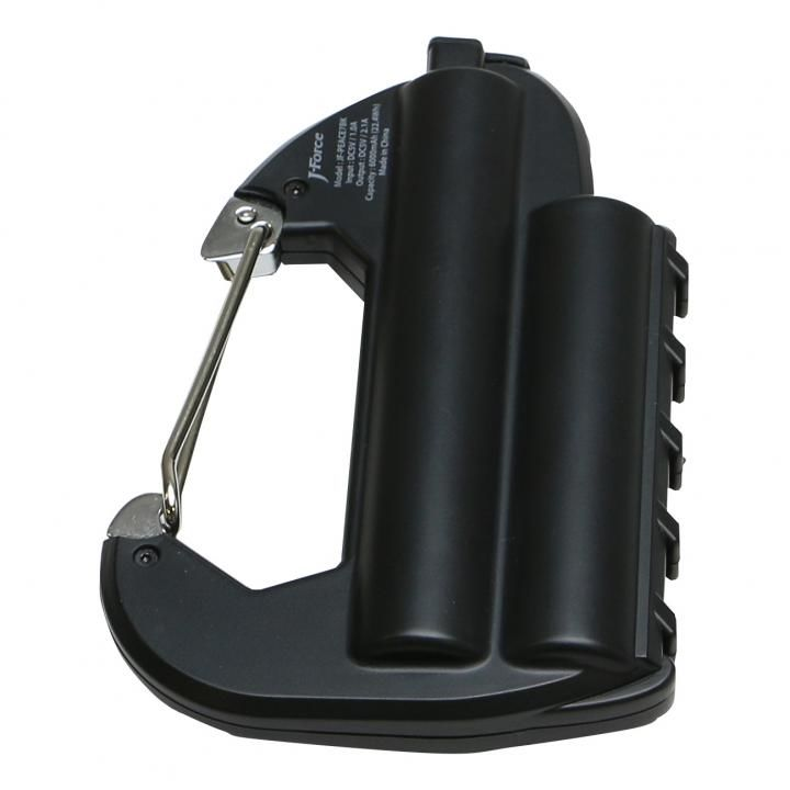 [6000mAh]ライト付カラビナ型フック式防水モバイルバッテリー「世界登山」 ブラック