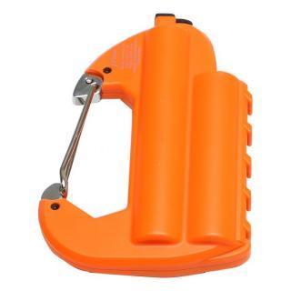 [6000mAh]ライト付カラビナ型フック式防水モバイルバッテリー「世界登山」 オレンジ