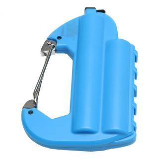 [6000mAh]ライト付カラビナ型フック式防水モバイルバッテリー「世界登山」 ブルー
