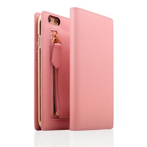 SLG Design ジッパー付き手帳型お財布ケース ベビーピンク iPhone 6s Plus/6 Plus
