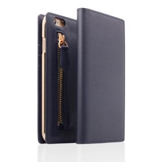 SLG Design ジッパー付き手帳型お財布ケース ネイビー iPhone 6s Plus/6 Plus