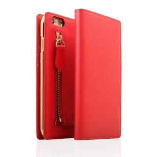 SLG Design ジッパー付き手帳型お財布ケース レッド iPhone 6s Plus/6 Plus