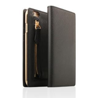 SLG Design ジッパー付き手帳型お財布ケース ブラック iPhone 6s Plus/6 Plus