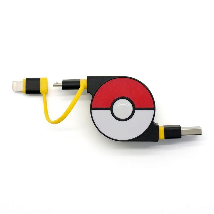 cheero 2in1 Retractable USB Cable with Lightning & micro USB POKEMON version 70cm イエロー_0
