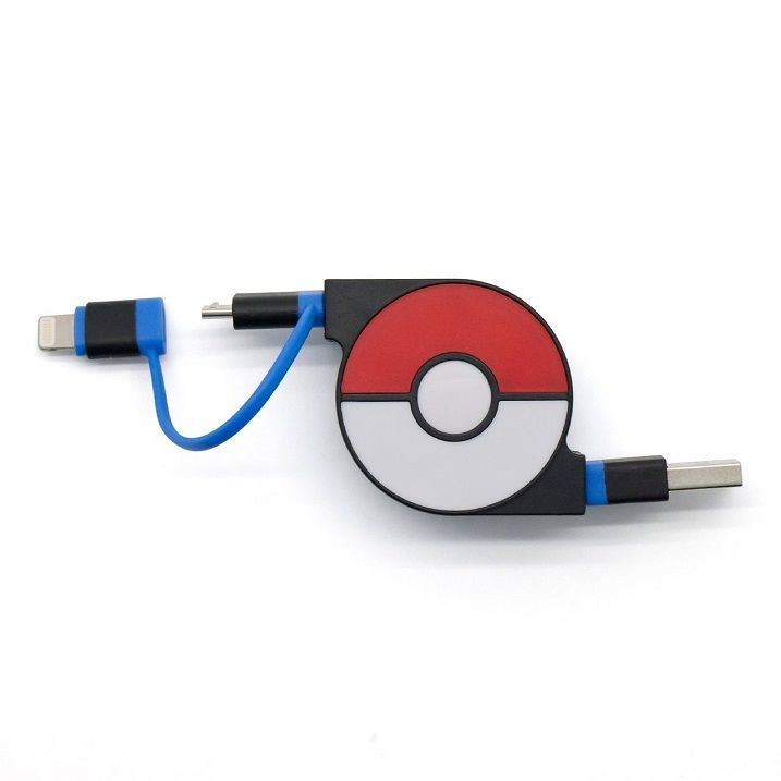 cheero 2in1 Retractable USB Cable with Lightning & micro USB POKEMON version 70cm ブルー_0