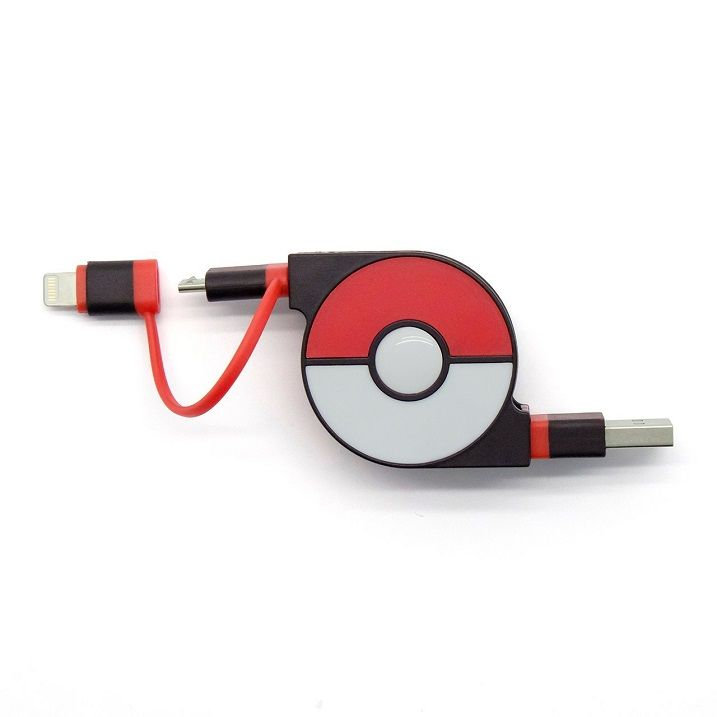 cheero 2in1 Retractable USB Cable with Lightning & micro USB POKEMON version 70cm レッド