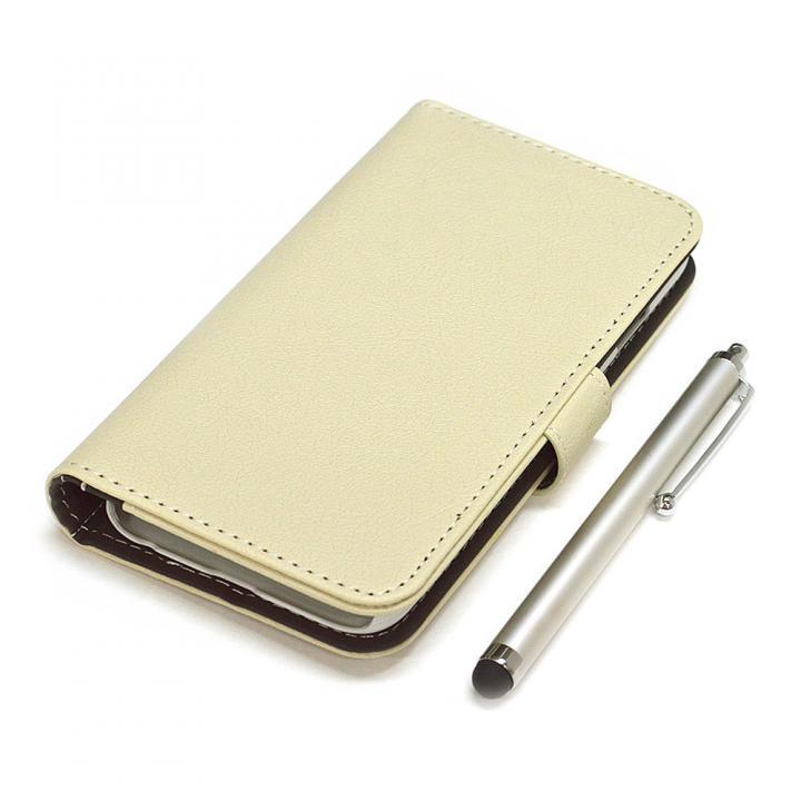 【iPhone6ケース】手帳型合皮ケース タッチペン付 アイボリー iPhone 6_0