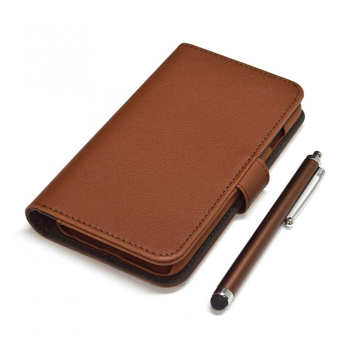 手帳型合皮ケース タッチペン付 ブラウン iPhone 6