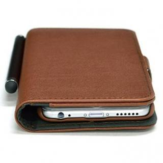 【iPhone6ケース】手帳型合皮ケース タッチペン付 ブラウン iPhone 6_1