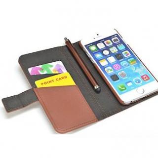 【iPhone6ケース】手帳型合皮ケース タッチペン付 ブラウン iPhone 6_3