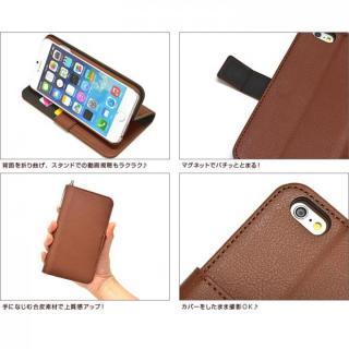 【iPhone6ケース】手帳型合皮ケース タッチペン付 ブラウン iPhone 6_5