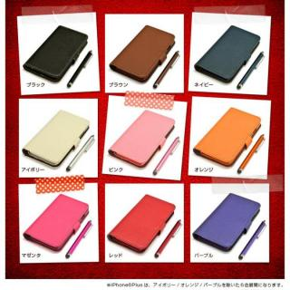 【iPhone6ケース】手帳型合皮ケース タッチペン付 ブラウン iPhone 6_6