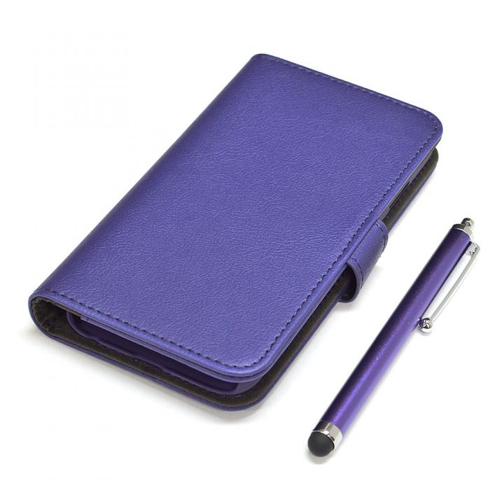 【iPhone6ケース】手帳型合皮ケース タッチペン付 パープル iPhone 6_0