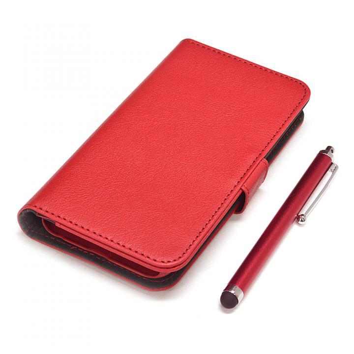 iPhone6s/6 ケース 手帳型合皮ケース タッチペン付 レッド iPhone 6s/6_0